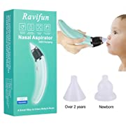 Ravifun Baby Nasal Aspirator Electric Nose Cleaner with 2 Sizes of Nose Tips and 5 Levels of Suction, Safe Hygienic for Newborns and Toddlers, USB Charging, Green