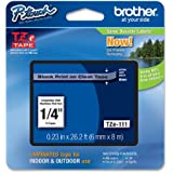 Brother Laminated Tape Black on Clear, 6mm (Tze111) - Retail Packaging