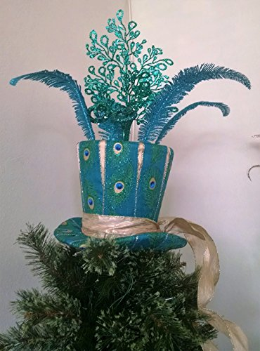 Top Hat Tree Topper - Large Peacock Tree Topper - Christmas Tree Topper - Peacock Top Hat - Top Hat Centerpiece - Tree Top - Christmas Decoration -