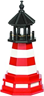 product image for DutchCrafters Decorative Lighthouse with Base - Wood, Assateague Style (Red/White/Black, 5)
