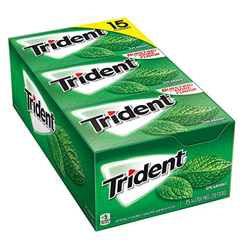 Spearmint Sugar - Trident Spearmint Sugar Free Gum 15/14 Piece Packs Total 210 sticks