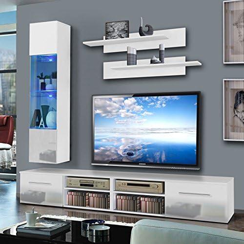 Paris Prix Mueble TV pared invento VI 240 cm color blanco: Amazon.es: Hogar