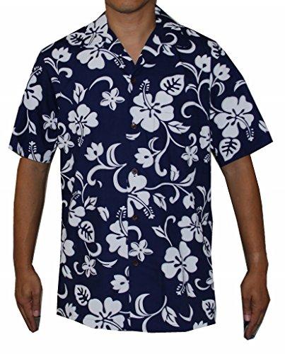 [Top Quality Hibiscus Hawaiian Aloha Shirt (M, BLUE)] (Hibiscus Blue Aloha Shirt)