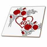 3dRose ct_264586_4 Red Heart and Roses 40th Ruby Anniversary for Wedding or Business Ceramic Tiles,