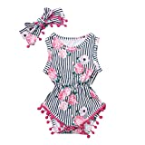 2PCS Infant Girl Romper, Toddler Baby Sleeveless Floral Stripe Tassel Bodysuit + Hairband Casual Outfits (18-24 Months, Pink)