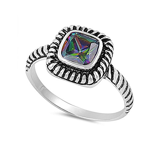 Blue Apple Co. Bezel Solitaire Twisted Cable Oxidized Design Fashion Ring Princess Cut Simulated Rainbow Cubic Zirconia 925 Sterling Silver