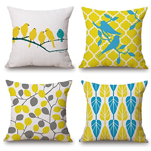 LAZAMYASA 4-Pack Pillowcases Cotton Linen Decorative Throw Pillow Covers Letter Vintage Floral Bird Mediterranean Style Square Cushion Cover Size 18