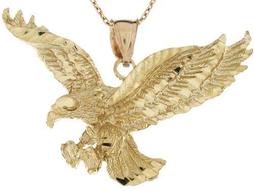 9ct Or Jaune Large Pendentif Aigle Americain 2.7cm