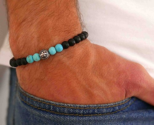 Handmade Onyx and Turquoise Gemstone Bracelet For Men By Galis Jewelry - Beaded Bracelet For Men - Strech Bracelet For Men
