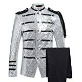 Mens 2-Piece Suit Fashion Sequin Party Prom Dinner Blazer Tuxedo Jacket Trousers,White,Large