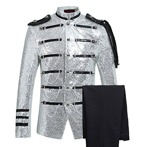 Mens 2-Piece Suit Fashion Sequin Party Prom Dinner Blazer Tuxedo Jacket Trousers,White,Large by Cloudstyle