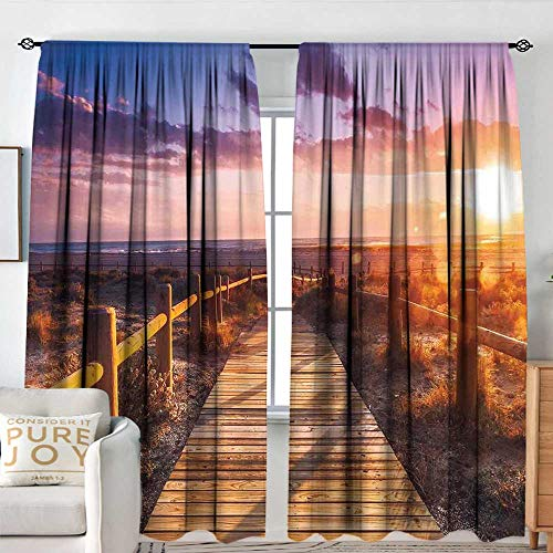"NUOMANAN Curtain Panels,Set of 2 Landscape,Sunset with Clouds in Cabo de Gata Nijar Natural Park Bridge Way with Fences,Multicolor,Modern Farmhouse Country Curtains 54""x63"""