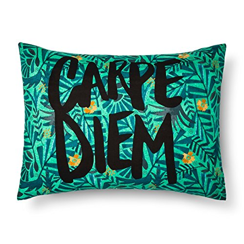 Green Xhilaration - Xhilaration Green Floral Carpe Diem Pillowcase, Set od 2