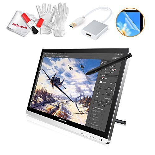 Huion GT-220 22 Inches Drawing Pen Display Graphics Tablets HD Monitor with USB 3.0 to HDMI Adapter, Screen Protector and Pergear Cleaning Kit by Huion
