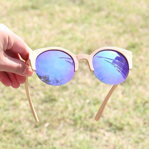 monture Wayfarer avec unisexes en bambou Crefreak lunettes soleil style de bleu Ynport qwYZA4x