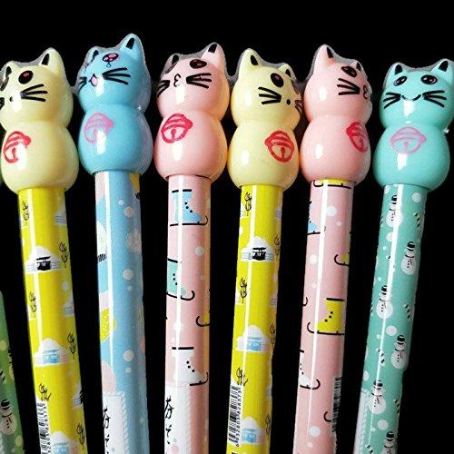 Kawaii School Supplies 10 pcs Cat Themed Pencils for Kids, Teens, Girls, Boys, Women & Adults Animal Office Supplies