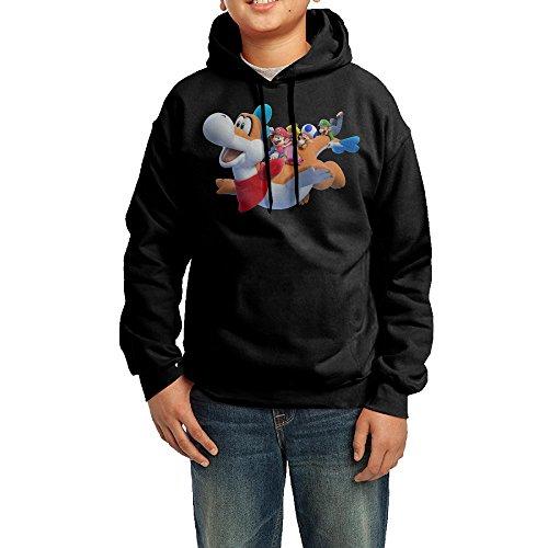 Kid's Funny Super Mario 3D World 100% Cotton Long Sleeve Hooded Sweatshirt Black US Size L (Ninja Gaiden 3 Xbox 360)