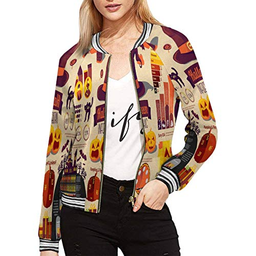 InterestPrint Women's Set of Halloween Infographic Elements with Icons Long Sleeve Zip up Classic Jacket L -