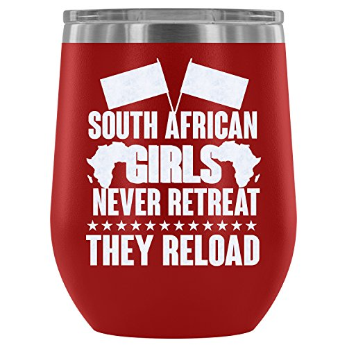 - Stainless Steel Tumbler Cup with Lids for Wine, South African Girls Never Retreat Wine Tumbler, Girl Vacuum Insulated Wine Tumbler (Wine Tumbler 12Oz - Red)