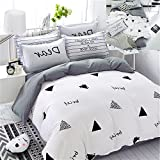 EnjoyBridal Twin Duvet Cover Sets Kids White Cotton Small Triangle Bedding Cover Sets Teens Boys Girls Comforter Cover with Zipper 2 Pillow Shams Soft Comfortable 4 Corners Ties (Twin, White)