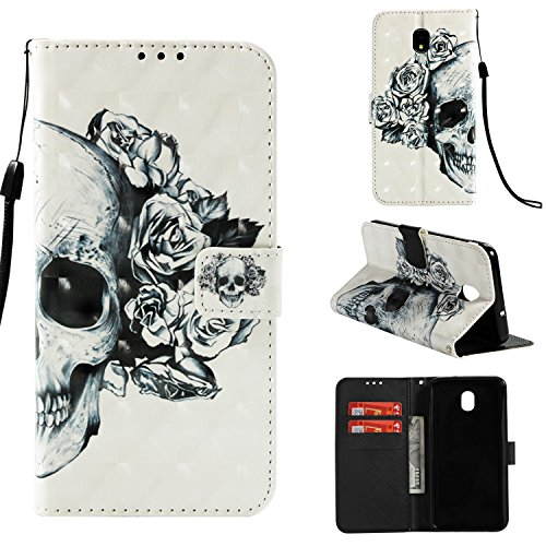 (Galaxy J7 2018 Case,For Samsung Galaxy J7 Aero/J7 Star/J7 Top/J7 Crown/J7 Aura/J7 Refine/J7 Eon Case, Leather Wallet Full Body Protective Phone Cover Credit Card Slot Wrist Strap Magnetic Skull Flower)