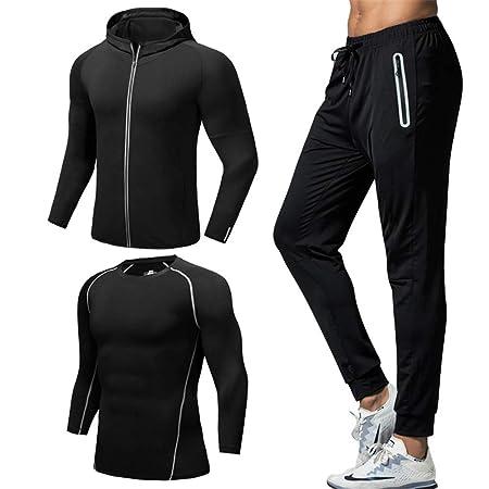 98d4a445d0c Men fitness suit 3 Pcs Mens Fitness Gym Clothing Set Sports Wear ...