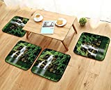 Leighhome Chair Cushions Double Waterfalls Flow to Natural Green Lake with Bushes and Grass Like Garden Non Slip Comfortable W25.5 x L25.5/4PCS Set