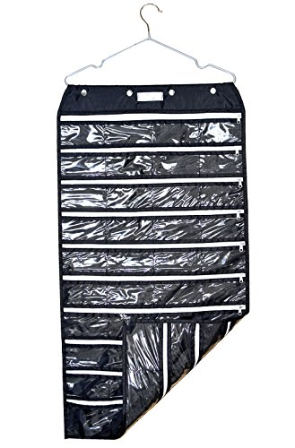 Ohlily Wall Hanging Jewelry Organizer Holder 80 Pockets Double Sided Storage with Zipper Oxford Fabrics (Fabric Pvc Buy)