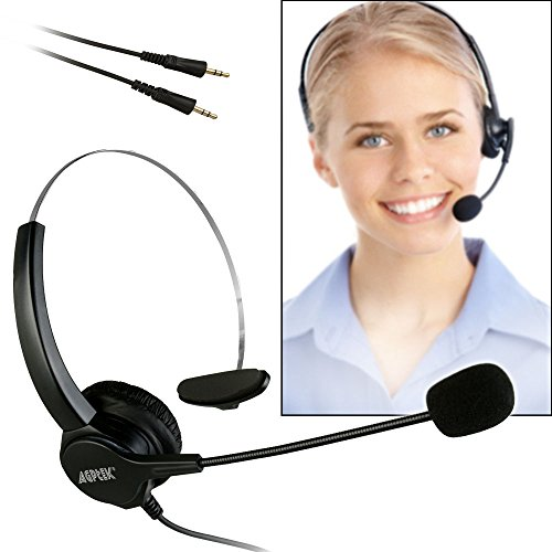 AGPtEK® Hands-free Call Center Noise Cancelling Corded Monaural Headset Headphone with Mic Mircrophone for Desk Telephone - Cord with Dual 3.5mm Audio Plug, Telephone Counseling Services, Insurance, Hospitals, Banks, Telecom Operators, Enterprises