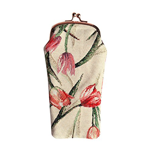(Signare Tapestry Eyeglasses Pouch Sunglasses Bag Spectacle Pouch with Tulip Flower (GPCH-TULWT))