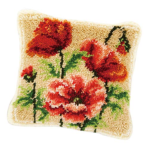 (Prettyia Animal/Flower Pattern Pillow Latch Hook Kit with Starter Tool for Beginners Making Crafts - Rose)