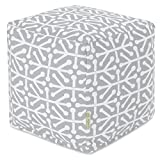 Majestic Home Goods Gray Aruba Indoor/Outdoor Bean Bag Ottoman Pouf Cube 17'' L x 17'' W x 17'' H