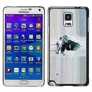 Caucho caso de Shell duro de la cubierta de accesorios de protección BY RAYDREAMMM - Samsung Galaxy Note 4 SM-N910F SM-N910K SM-N910C SM-N910W8 SM-N910U SM-N910 - Raven Crow Watercolor Eagle Wings