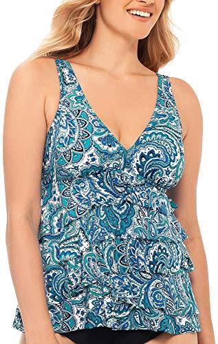 Paradise Bay Womens Paisley Print Tier V-Neck Tankini Top 16 ()