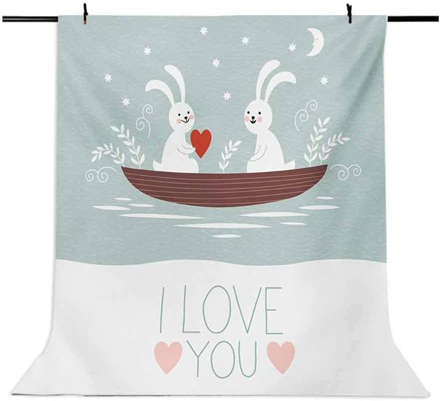 I Love You 6.5x10 FT Photography Backdrop Rabbit Couple Sailing on Boat in The Lake Valentines Partner Cartoon Background for Photography Kids Adult Photo Booth Video Shoot Vinyl Studio Props