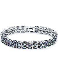 Silver Elegant Mystic fire Topaz Women Bracelet 7.25 inches