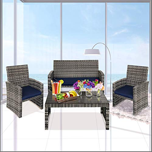 Lightning Deal 4 Pieces Outdoor Rattan Patio Furniture Set,Hand Woven Wicker Chairs,PE Rattan Sectional Sofa with Cushions and Tea Table for Garden Party,Thanksgiving Christmas