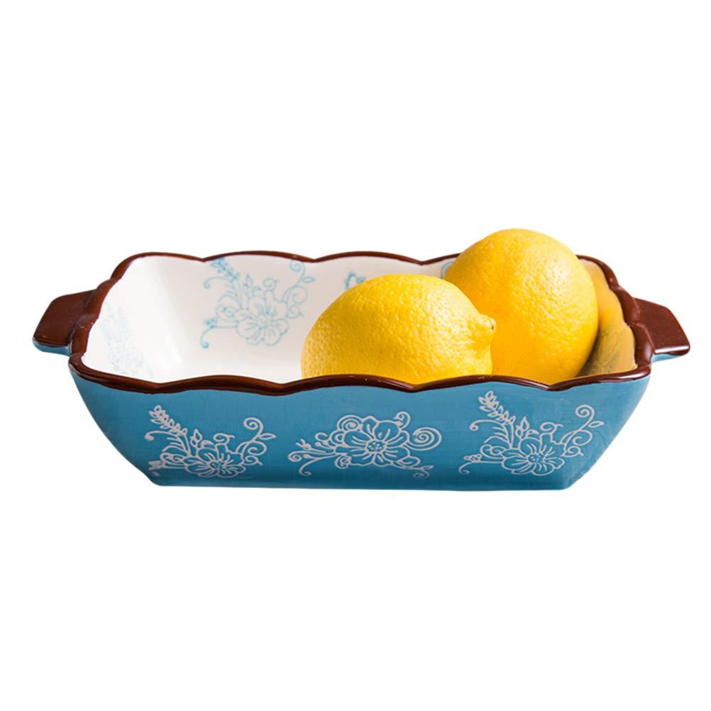 Shanenxn Rectangular Binaural Ceramic Bowl Cheese Baked Tray Baking Oven Household Kitchen Tools Sets (Color : SkyBlue, Size : Small)