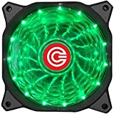 CIRCLE 15 LED Silent Cabinet 4 and 3-pin Connector Hydraulic Long-Life Sleeve Cooling FAN, 120mm (Green)