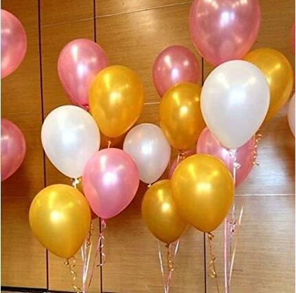 Sopeace 100 Pack 12 Inches Ultra Thickness Gold & Pink & White Color Latex Party Balloons and Paper Straws– Party Decoration and ()