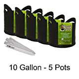 Smart Pot with Cut Handles Fabric Garden Plant Container Planter Grow Pots + THCity Plant Stakes - 10 Gallon - 5 Pots