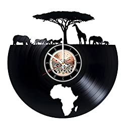 Africa Animals Vinyl Record Wall Clock - Home room wall decor - Gift ideas for mother and father, teens - Unique Art Design