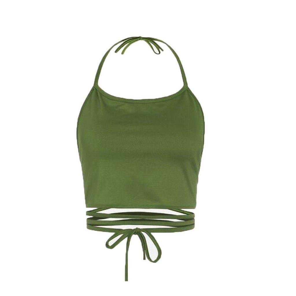 Sale Camisole chaofanjiancai Women Halter Plain Tank Tops Sleeveless Short Vest Casual Summer Blouse (Free, Green)