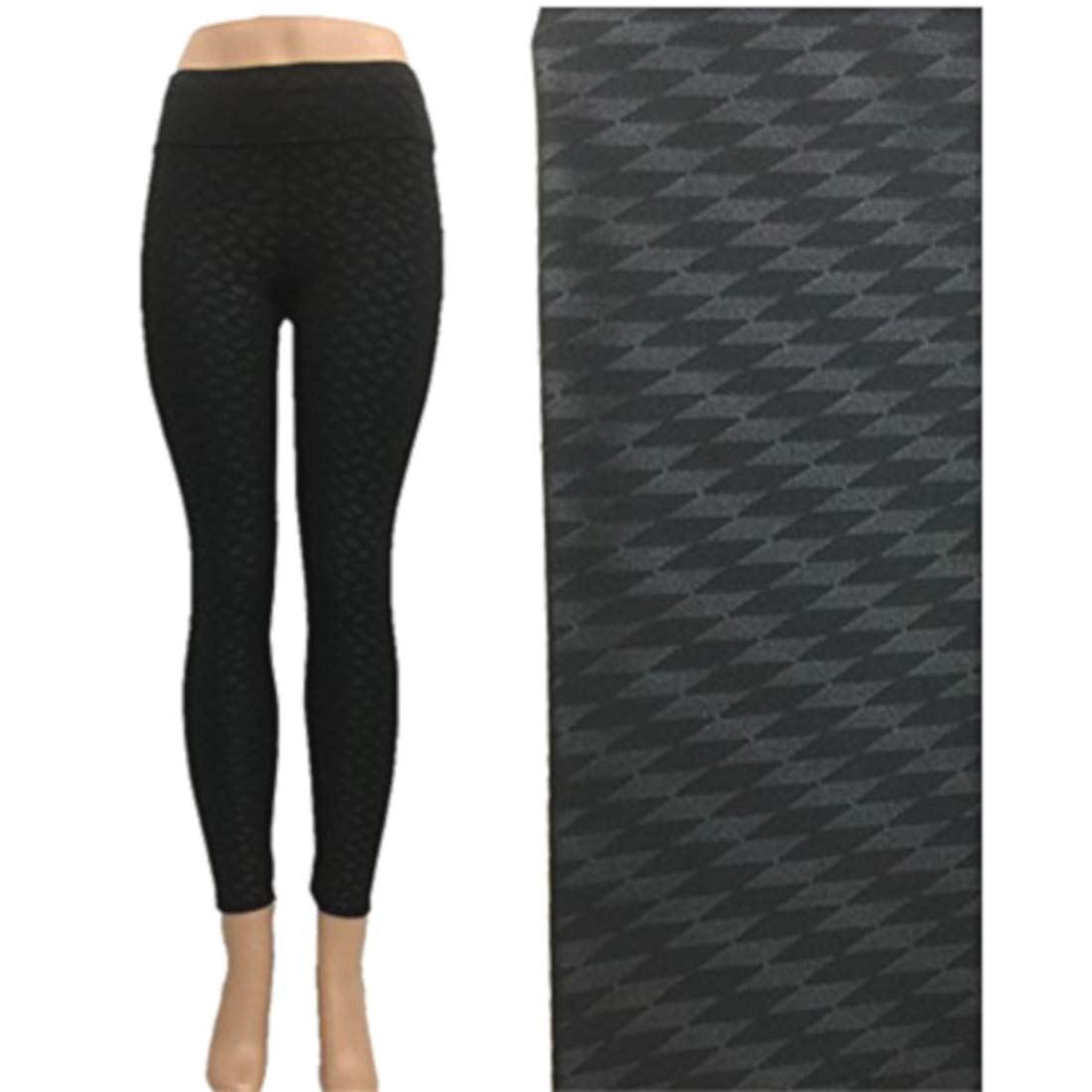 61ede4f15cb6f Women's Black Embossed Print Patterned Yoga Pants Leggings at Amazon  Women's Clothing store: