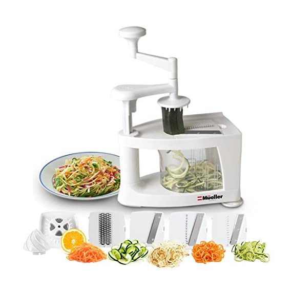 Mueller Spiral-Ultra Multi-Blade Spiralizer, 8 into 1 Spiral Slicer, Heavy Duty Salad Utensil, Vegetable Pasta Maker and Mandoline Slicer for Low Carb/Paleo/Gluten-Free Meals 1 WHY IS THIS THE BEST SPIRALIZER ON THE MARKET? - NEWEST, PATENTED DESIGN! Gravity does half the work so no awkward sideways pressure is needed. Excellent for making veggie pasta or spirals for healthy vegetable meals. The easiest to use, best spiral slicer-spiralizer for those on a gluten-free/low carb/raw food/Paleo diet. Replace high carb pasta or noodles with healthy and tasty vegetable equivalents. The Spiral-Ultra will do wonders for your diet. UNMATCHED QUALITY - Made from BPA-free professional grade, heavy duty reinforced food grade ABS for superior break resistance. Highly versatile thanks to the 4 ultra-sharp German 420-grade hardened stainless steel blades for endless fruit and vegetable creations. Provides a fun and unique way to take ordinary vegetables and fruits and make them into exciting spirals, ribbons, noodles and chips. EXTREME VERSATILITY SALAD UTENSILS: Why waste time with a knife or a box grater? With this spiralizer, you can get foods evenly sliced or finely grated in a fraction of the time. The Spiral-Ultra features all the benefits of a Tri-Blade or 4-Blade Spiralizer and more with this 8 in 1 Spiralizer - is also a Grater, Mandoline, and Juicer. Simply helping you make professional-looking garnishes, apple chips, onion rings, potato nests, elegant salads, vegetable pizza toppings, and so much more