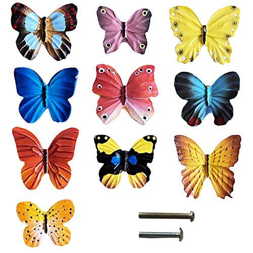 Butterfly Cabinet Knob - Lemonadeus Creative Butterfly Decor Resin Drawer Handle Kitchen Cupboard Pulls, Unique Home Funiture Décor(Set of 10)