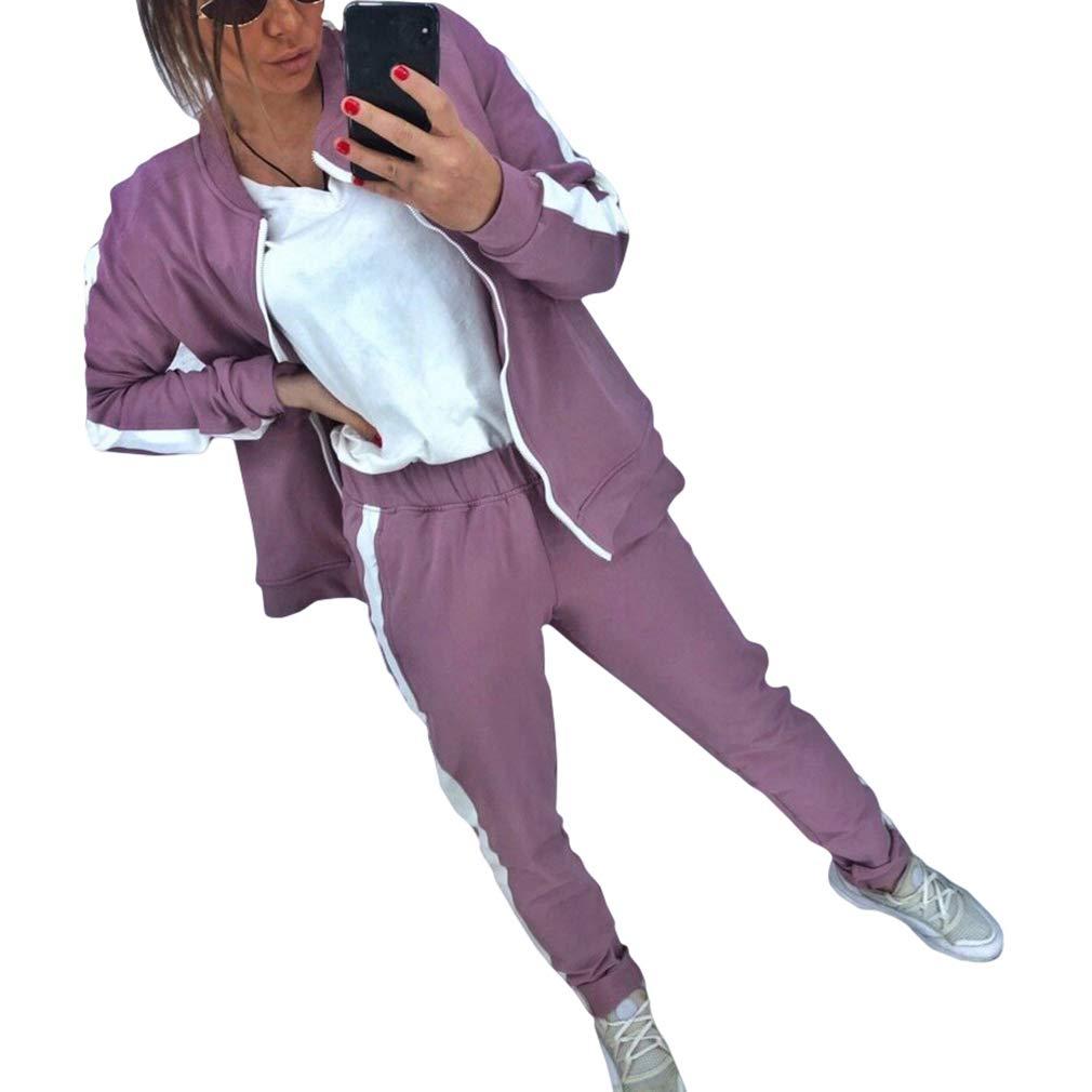 Hibote 2 Unids Mujeres Corriendo Gimnasio Pantalones de Ch/ándal Moda Casual Conjunto Cremallera Sudadera Sal/ón Desgaste Traje Deportivo Ropa Diaria Elegante