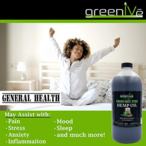 51ig6AGGgIL - GreenIVe - Hemp Oil 910,000mg - Anti-Inflammatory - Vegan Omegas - Cold Pressed - Exclusively on Amazon (32 Ounce)