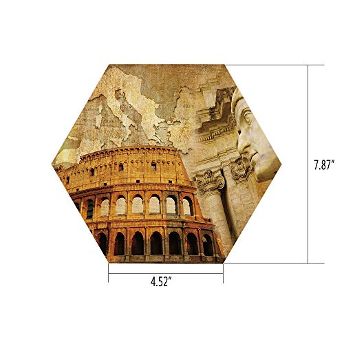 PTANGKK Hexagon Wall Sticker,Mural Decal,Retro,Roman Empire Concept Famous Columns Sculptress Colosseum Map of The Nation Print Decorative,Orange Brown,for Home Decor 4.52x7.87 10 Pcs/Set ()