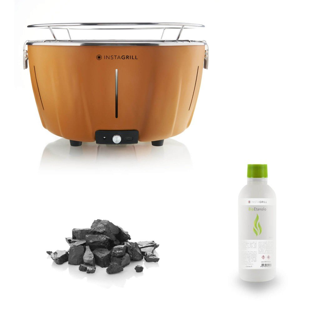 Energie–Grill instagrill Orange mit Kit Ethanol + Holzkohle Cod.80003552